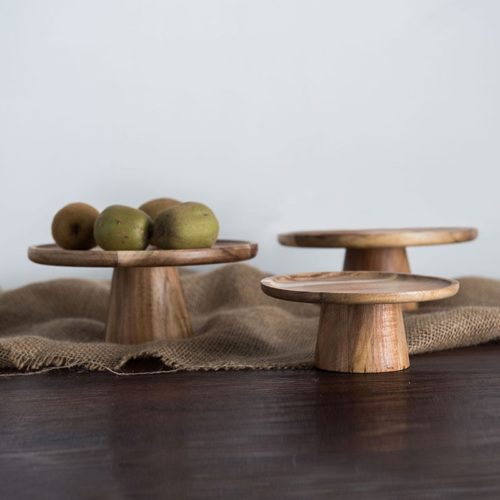 Natural 1-Tier Wooden Cake Stand