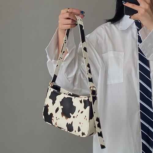 Cow Print Shoulder Bag For Women