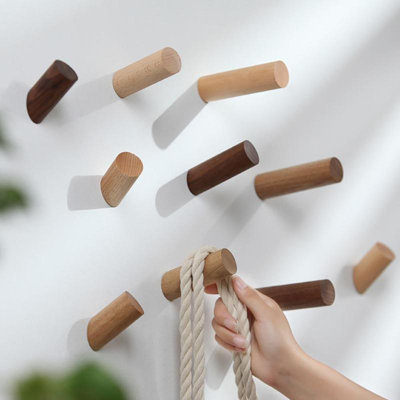 Natural Wooden Wall Hanger Robe Hook Wood Home Room Decoration Wall Mounted Coat Clothes Scarf Hat Bag Storage Hanger Hooks New