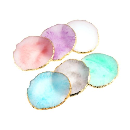 Gold-Plated Round Resin Jewelry Tray