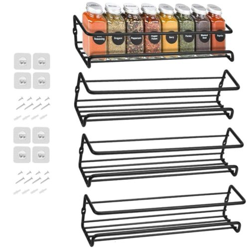 Hanging Wall Mount Spice Rack (4 pcs)