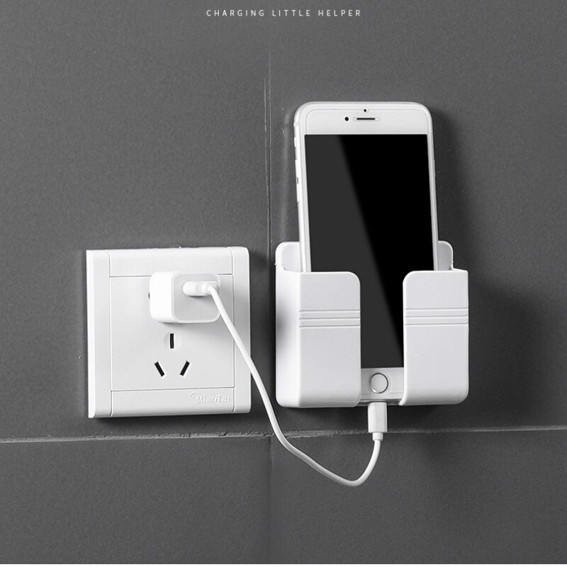 1PC Wall Mounted Organizer Storage Box Remote Control Mounted Mobile Phone Plug Wall Holder Charging Multifunction Holder Stand