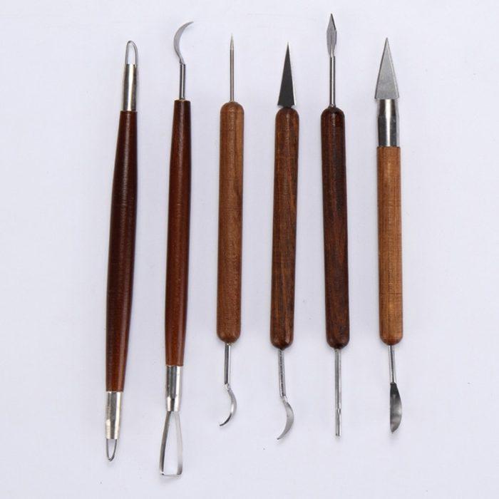 Wooden Polymer Clay Sculpting Tools (6pcs)