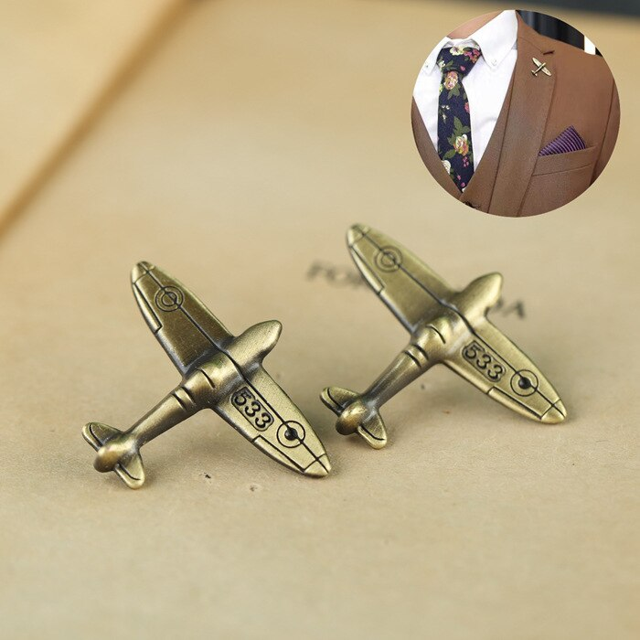 1PC Alloy Antique Bronze Color Airplane Retro Air Plane Brooches Pins and Brooch Badge Lapel Pins For Men