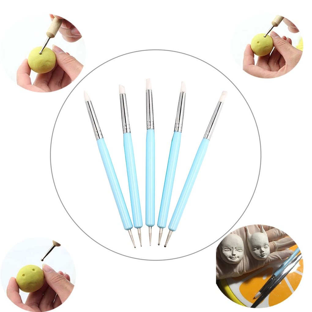 5pcs/set Double-ended Dotting Tools Set Nail Art Embossing Tools Pottery Craft Art Silicone Brushes Pottery Clay Tool