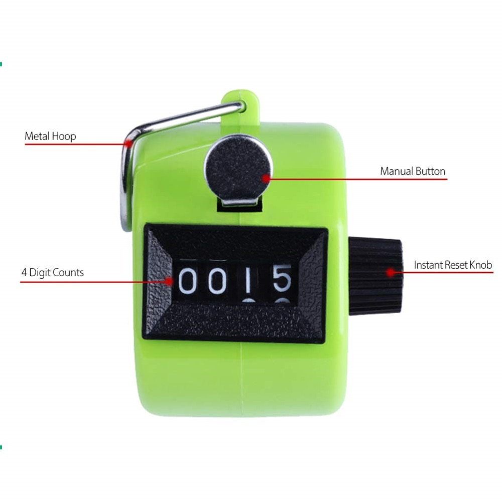 Clicker 4 Digit Number Counters Plastic Shell Hand Finger Display Manual Counting Tally Clicker Timer Soccer Golf Counter
