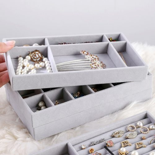 Stackable Jewelry Trays Velvet Organizer