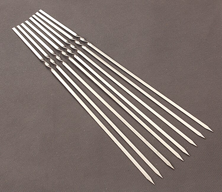 Skewers for Barbecue Reusable Grill Stainless Steel Skewers Shish Kebab BBQ Camping Flat Forks Gadgets Kitchen Accessories Tools