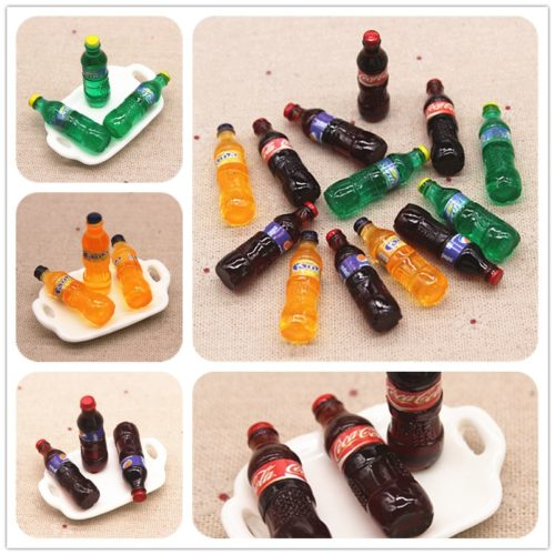 Mini Soda Bottles Miniature Decor 10pcs
