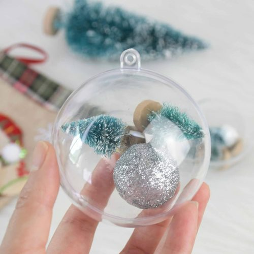Clear Plastic Baubles Christmas Decor (10 Pcs)