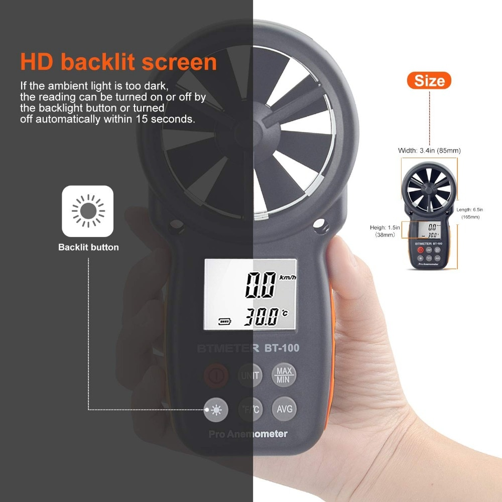 Digital Anemometer Handheld Wind Speed Meter BT-100 for Measuring Wind Speed, Temperature and Wind Chill with Backlight LCD