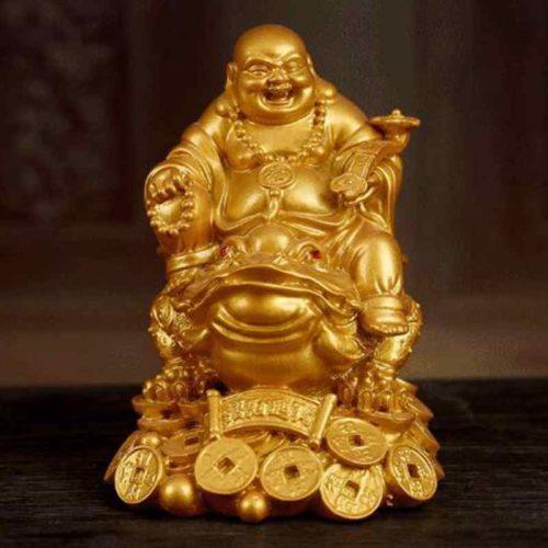 Feng Shui Laughing Buddha On Money Frog
