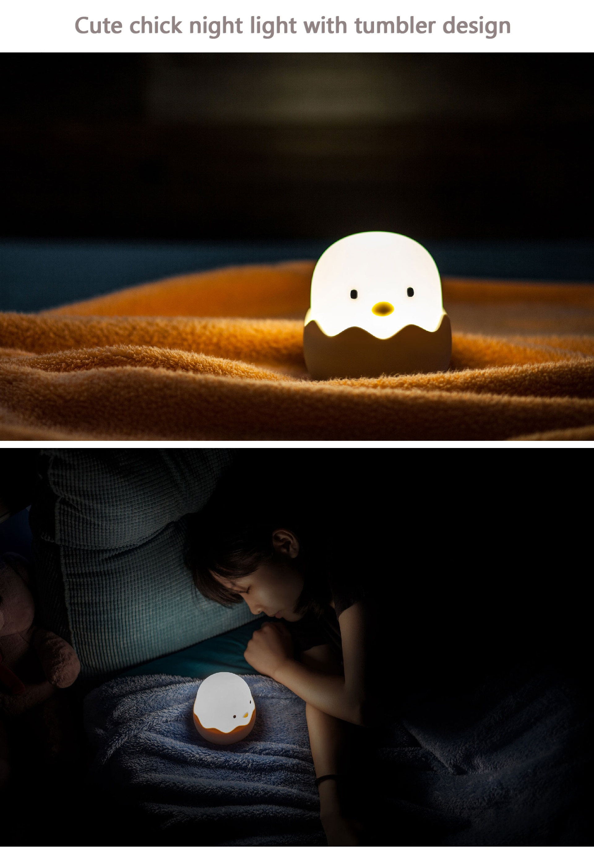 ילדים לילה אפרוח אור לילה לתינוק מתכוונן סיליקון אור עם חיישן מגע חמוד יצירתי מעטפת לילה תינוק