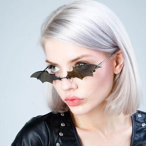 Rimless Fashion Bat Sunglasses