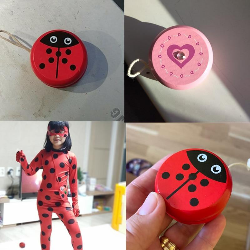 Cute Animal Prints Wooden Yoyo Toys Ladybug Toys Kids Yo-Yo Creative Yo Yo Toys For Children 5cm Wooden Yo Yo ball