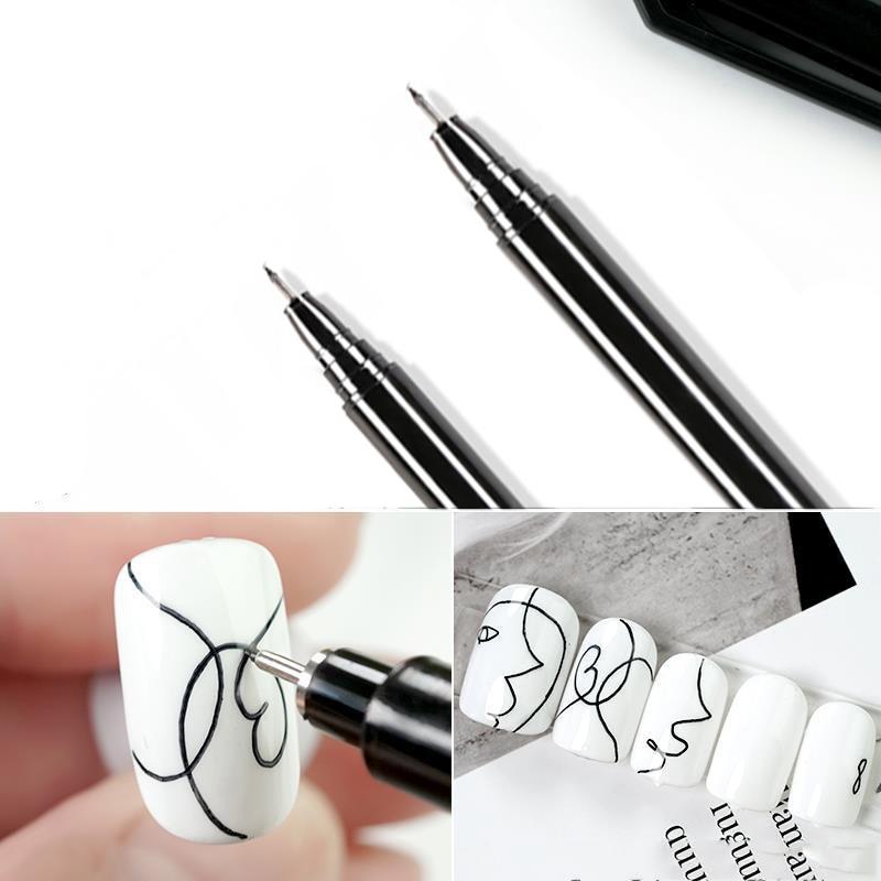 1 יחידות עט גרפיטי אמנות ציפורן עמיד למים ציור ציור אוניית מברשת פרח DIY פרחי קווים מופשטים פרטי יופי אמנות ציפורן כלי