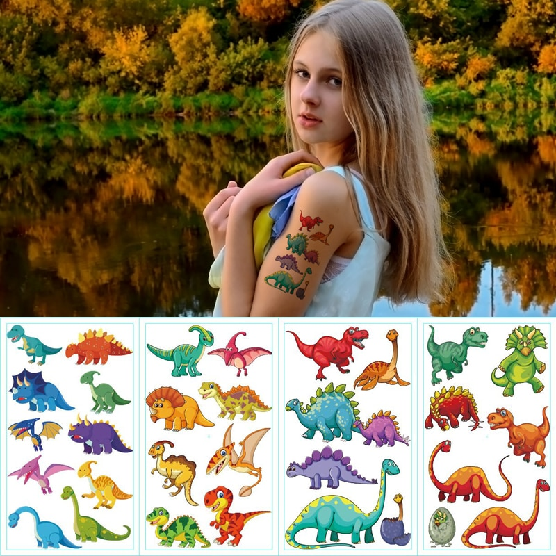 10pcs/lot color unicorn tattoo set face temporary tattoo child tattoo sticker body tatoo for kids cute tattoo children tattoos