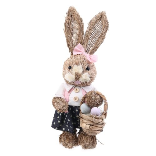 Straw Standing Easter Bunny Decor