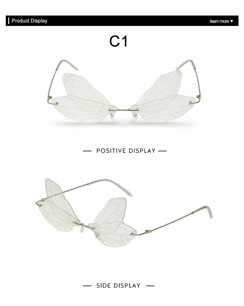 Women Fashion Rimless Sunglasses Retro Elf Fairy Dragonfly Steampunk Sunglasses Girls Frameless Gradient Glasses Shades