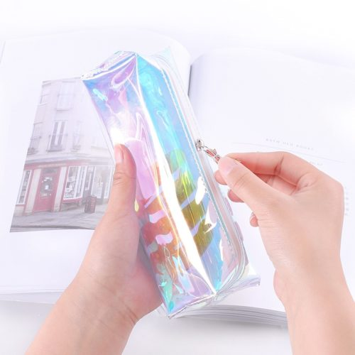 Zippered Clear Holographic Pencil Case