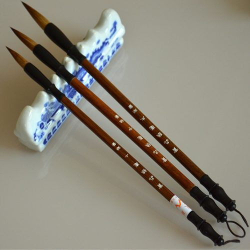 Wooden Chinese Calligraphy Brushes (3pcs)