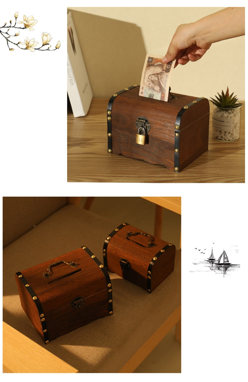 1PC Wooden Piggy Bank Safe Money Box Savings Wood Carving Handmade Vintage Retro Child Cash Coin storage box High Quality Gifts