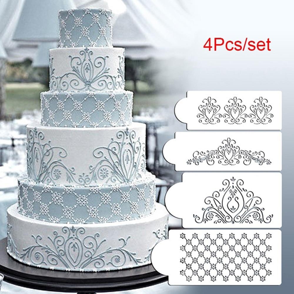 4 Pcs/set Floral Lace Cake Stencils Wedding Cake Border Molds DIY Cake Craft Stencils Cake Baking Tools