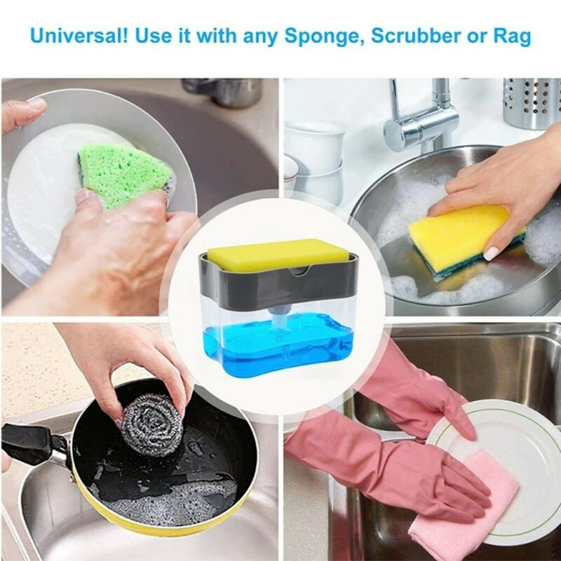 Dish Soap Dispenser for Kitchen,Liquid Soap Dispenser,Kitchen Soap Dispenser with Sponge Holder,Sponge Caddy,Soap Pump Dispenser