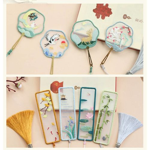 Oriental Tasseled Embroidered Bookmark