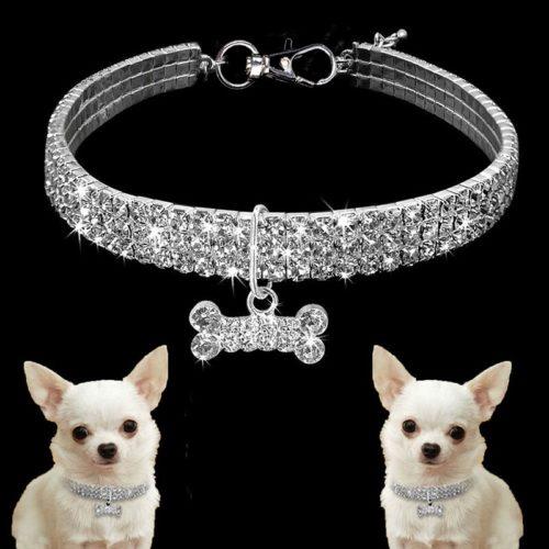 Adjustable Fancy Rhinestone Dog Collar