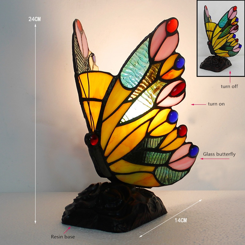 Artpad Stained Glass Tiffany Butterfly Lamps With US/EU Plug In E27 Bedroom Bedside LED Butterfly Light for Table Night Fixtures