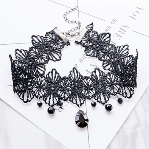 Black Lace Choker Ladies Punk Accessory