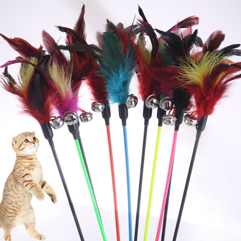 Hot Sale Cat Toys Random Color Make A Cat Stick Feather Black Coloured Pole Like Birds With Small Bell Natural 1PCS