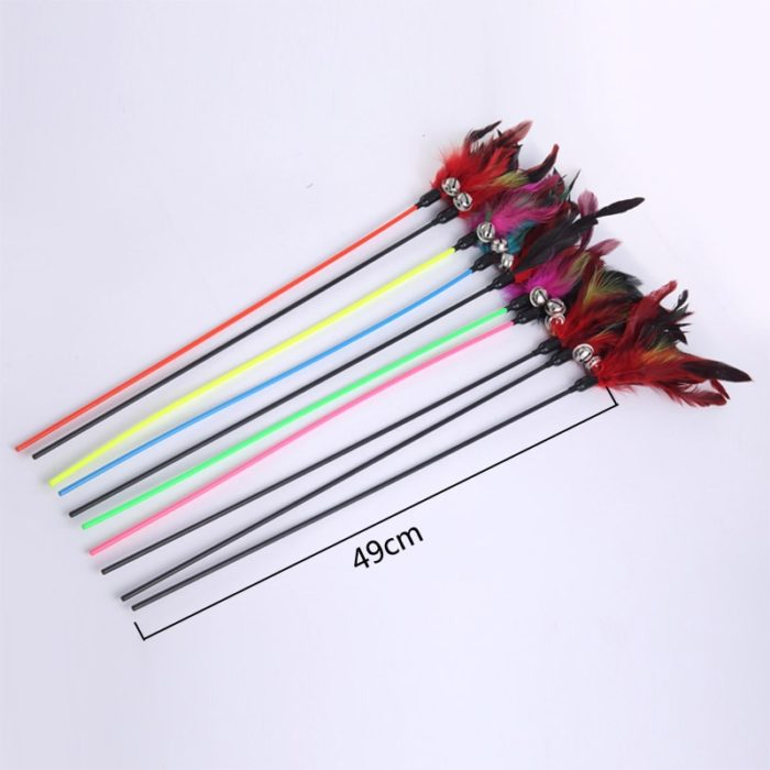 Cat Feather Wand Pet Toy Stick