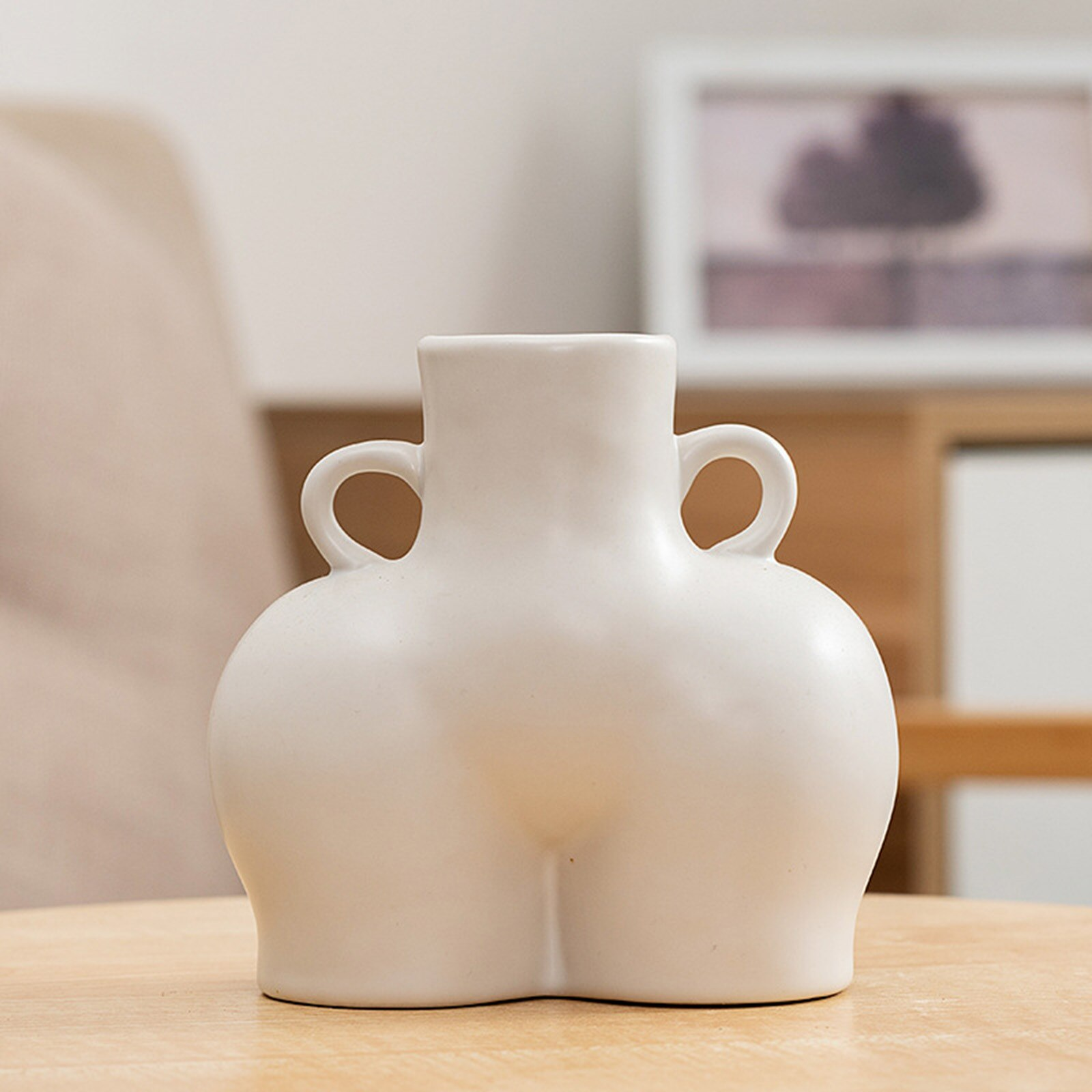 Ceramic Vase, Desktop Plant Container, Human Body Shaped Art Creative Decorative Flower Pot Side Ring Handle New Style 2021