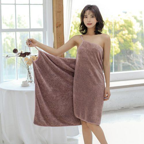 Coral Fleece Wearable Bath Towel