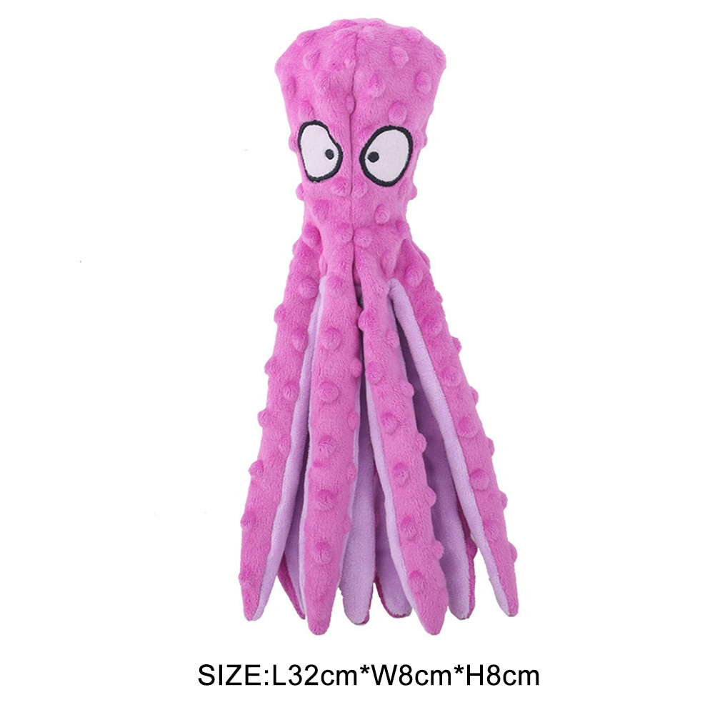 8 Legs Octopus Soft Stuffed Plush Squeaky Dog Squeakers Toy Interactive Squeaky Dog Toy Sounder Sounding Paper Chew Tooth Supply