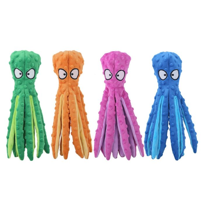 Soft Squeaky Plush Octopus Dog Toy