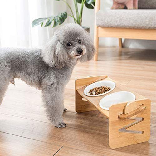 Bamboo Frame Elevated Pet Bowls