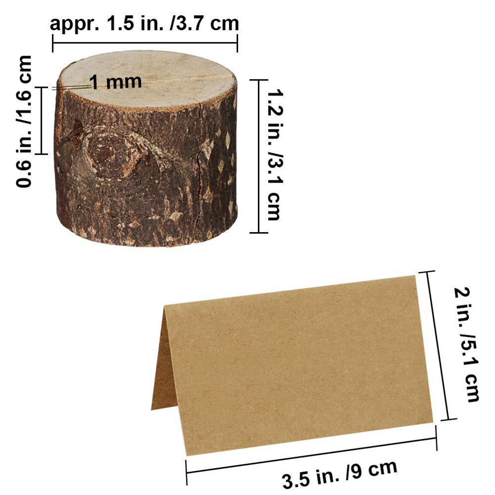 Wood Pile Name Place Card Photo Holders Wooden Bark Memo Holder Stump Shape Menu Number Memo Stand Wedding Party Table Decor
