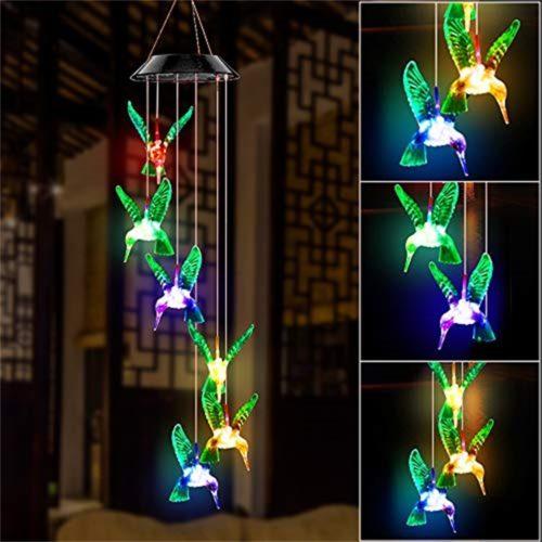 Solar Hummingbird Wind Chimes LED