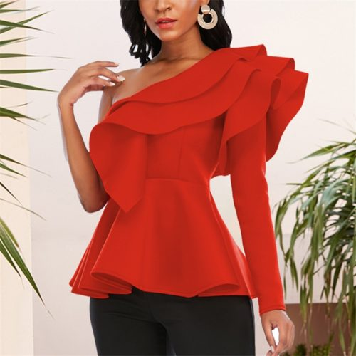 One Shoulder Sexy Peplum Blouse
