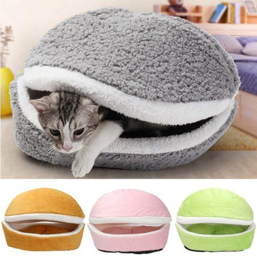 Cat Hamburger Bed Soft Pet Cushion