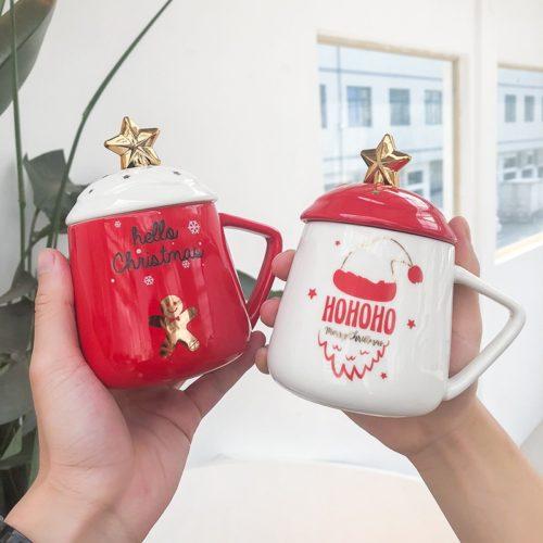Christmas Mug Ceramic Cup with Lid