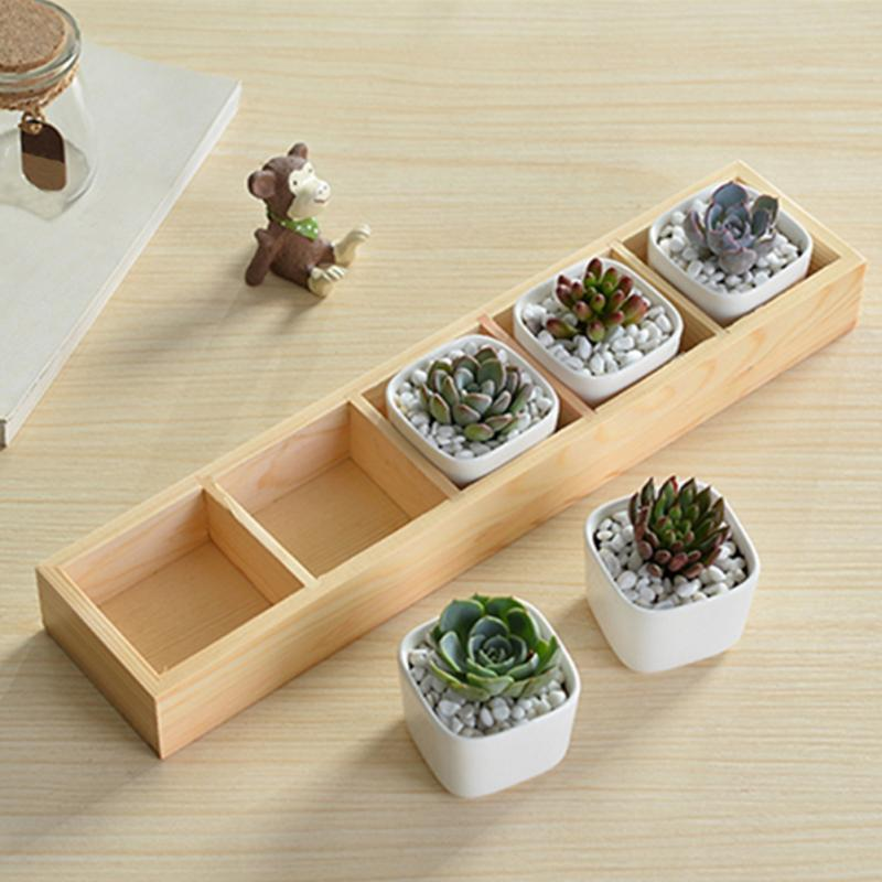 2021 new hot sales 5-Grid Wooden Succulent Plant Fleshy Flower Pot Box Tray Decorative Containers