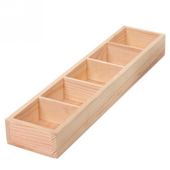 Wooden 5-Grid Succulent Plant Tray