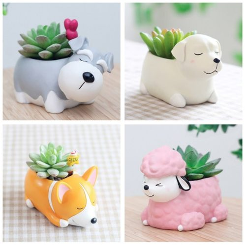 Resin Garden Dog Plant Pot