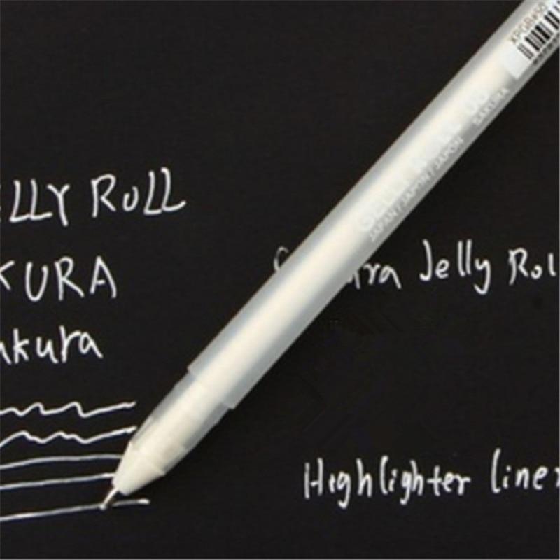 White Ink 0.8MM Gel Pen Unisex Pen Gift For Kids Stationery Office Learning student School Supplies