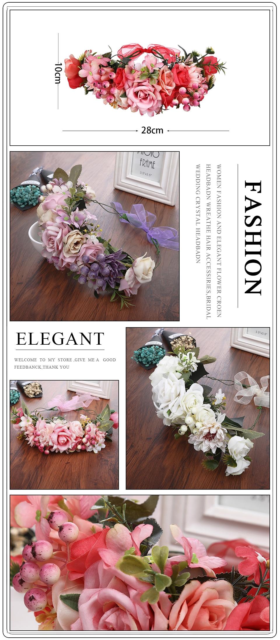 Haimeikang Lady Girl Sweet Princess Headband Floral Crown Flower Headband Wedding Party Hair Wreath Boho Bridal Headdress
