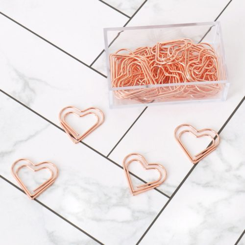 Rose Gold Heart Paper Clips (30 Pcs)